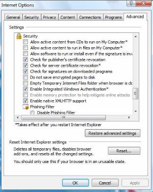 internet explorer setting